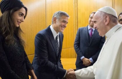 George and Amal Clooney meet Pope Francis on Sunday May 29 2016