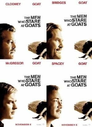 men who stare at goats movie poster cliche