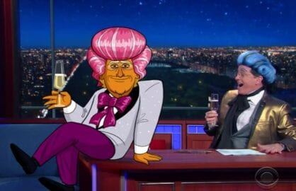 stephen colbert late show cartoon trump