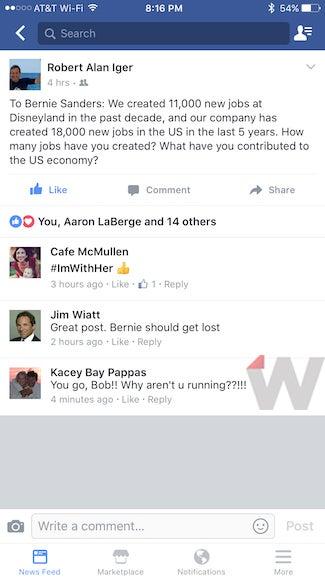 bob iger facebook bernie sanders