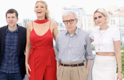Jesse Eisenberg, Blake Lively, director Woody Allen and Kristen Stewart attend the 'Cafe Society' Cannes