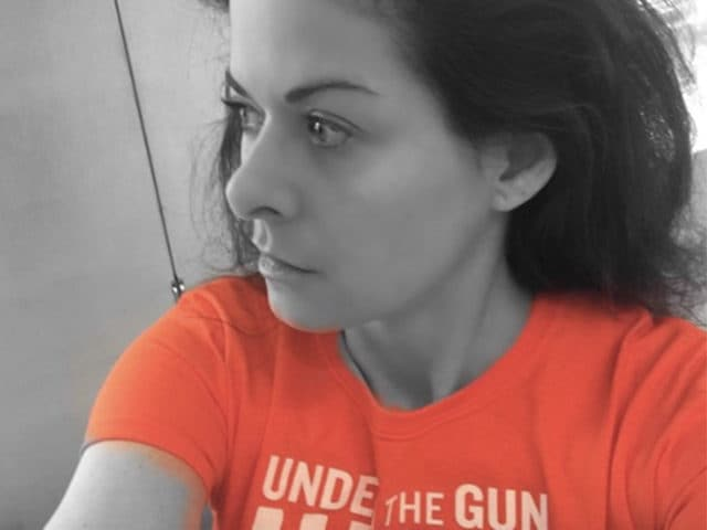 Debra Messing gun selfie UCLA