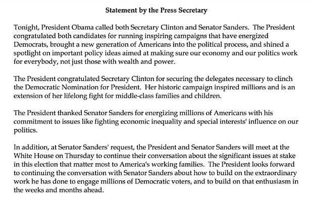 Statement from White House on Sanders