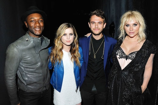 LOS ANGELES, CA - JUNE 02: (L-R) Aloe Blacc, Sydney Sierota, Zedd and Kesha attend the 2016 Los Angeles Film Festival - 'Zedd: True Colors' Official Screening at The Ace Hotel Theater on June 2, 2016 in Los Angeles, California. (Photo by Jerod Harris/WireImage)