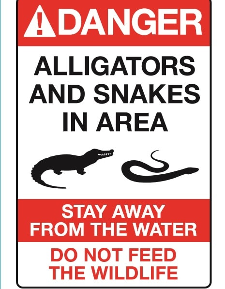 disney gator attack alligator sign