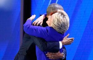 Barack Obama Hillary Clinton Hug Democratic Convention