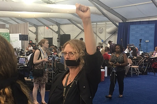 Bernie Sanders supporter at Democratic Convention 2