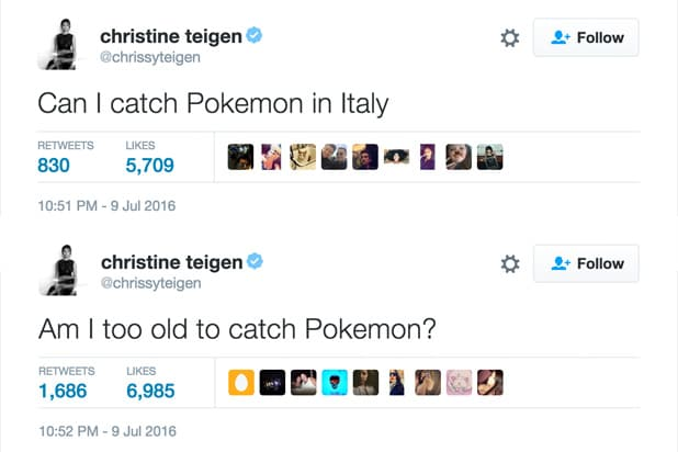 Chrissy Teigen Pokemon Go tweets