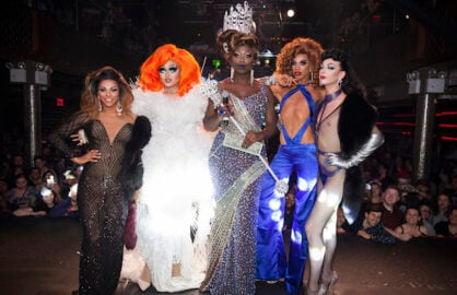 NEW YORK, NY - MAY 16:  (L-R) Shangela Laquifa Wadley, Kim Chi, Bob The Drag Queen, Naomi Smalls and Violet Chachki onstage during RuPaul's Drag Race Season 8 Finale Party at Stage 48 on May 16, 2016 in New York City.  (Photo by Santiago Felipe/Getty Images)