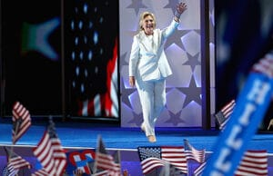 HIllary Clinton walking out at Democratic Convention