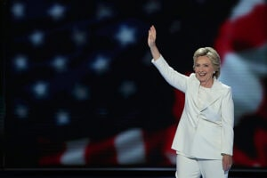 Hillary Clinton on stage at Democratic Convention