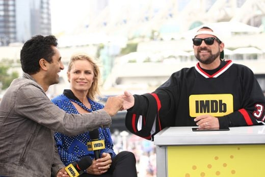 SAN DIEGO, CA - JULY 23: (L-R) Actors Cliff Curtis and Kim Dickens of Fear the Walking Dead and host Kevin Smith attend the IMDb Yacht at San Diego Comic-Con 2016: Day Three at The IMDb Yacht on July 23, 2016 in San Diego, California. (Photo by Tommaso Boddi/Getty Images for IMDb)