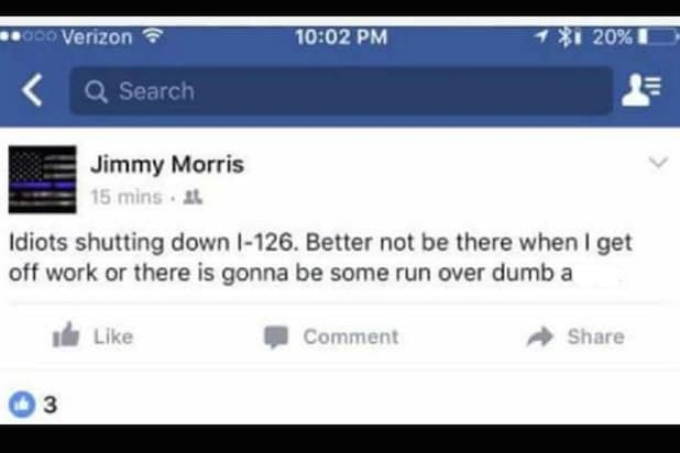 Jimmy Morris Columbia Firefighter Black Lives Matter Post