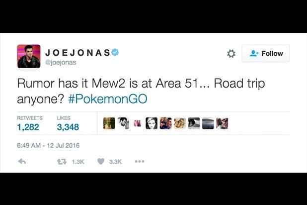 Joe Jonas Pokemon Go tweets