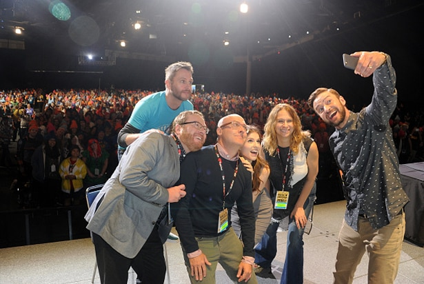 SAN DIEGO, CA - JULY 21: (L-R) Moderator Chris Hardwick (top), co-directors Walt Dohrn and Mike Mitchell, actress Anna Kendrick, producer Gina Shay, and actor Justin Timberlake take a selfie onstage at the DreamWorks Animation Theatrical Presentation of 'Trolls' during Comic-Con International 2016 at San Diego Convention Center on July 21, 2016 in San Diego, California. (Photo by Albert L. Ortega/Getty Images)