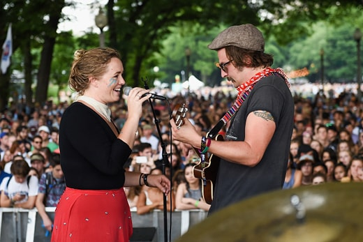 CHICAGO, IL - JULY 28: Kelsey Wilson (L) and Alexander Beggins of Wild Child perform at Grant Park on July 28, 2016 in Chicago, Illinois. (Photo by Erika Goldring/Getty Images)