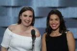 Lena Dunham and America Ferrera Democratic Convention