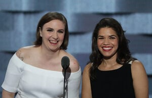Lena Dunham and America Ferrera Democratic Convention