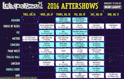 Lollapalooza 2016 After Parties Official
