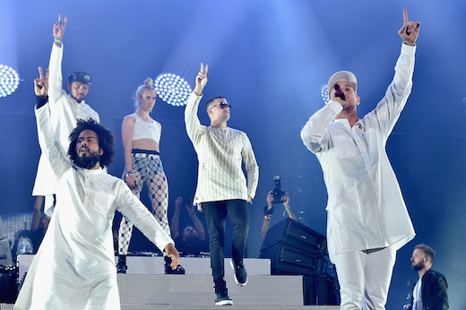 INDIO, CA - APRIL 17: (L-R) Musicians Walshy Fire of Major Lazer, Jillionaire of Major Lazer, MØ, DJ Snake and Diplo of Major Lazer perform onstage during day 3 of the 2016 Coachella Valley Music And Arts Festival Weekend 1 at the Empire Polo Club on April 17, 2016 in Indio, California. (Photo by Kevin Winter/Getty Images for Coachella)