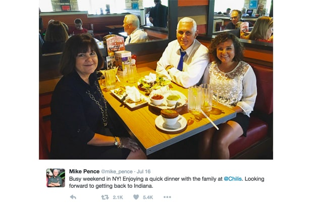 Mike Pence Chili's tweet