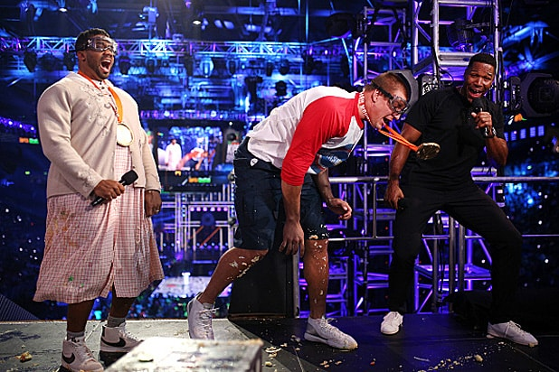 Rob Gronkowski Russell Wilson and Michael Strahan Nickelodeon Kids Choice Sports