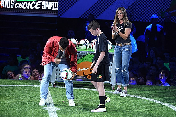 Russell Wilson and Brandi Chastain Nickelodeon Kids' Choice Sports Awards