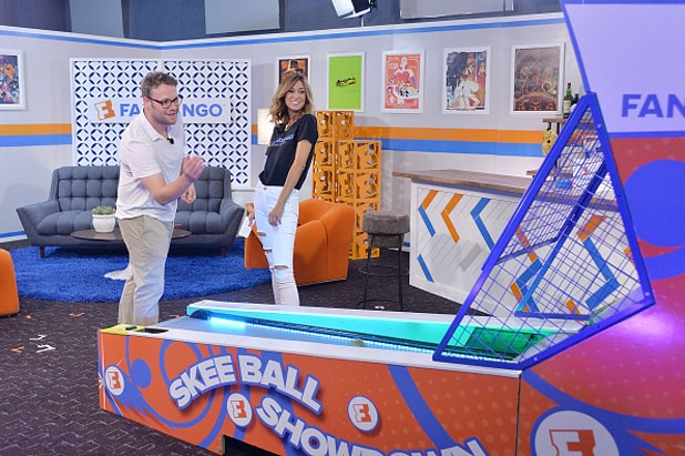 "SAN DIEGO, CA - JULY 21: Seth Rogen of ""Sausage Party"" talks about his new movie and plays skee ball with Fandango host Nikki Novak at the Fandango Studio at San Diego Comic-Con International 2016 on July 21, 2016 in San Diego, California. (Photo by Stefanie Keenan/Getty Images for Fandango)"