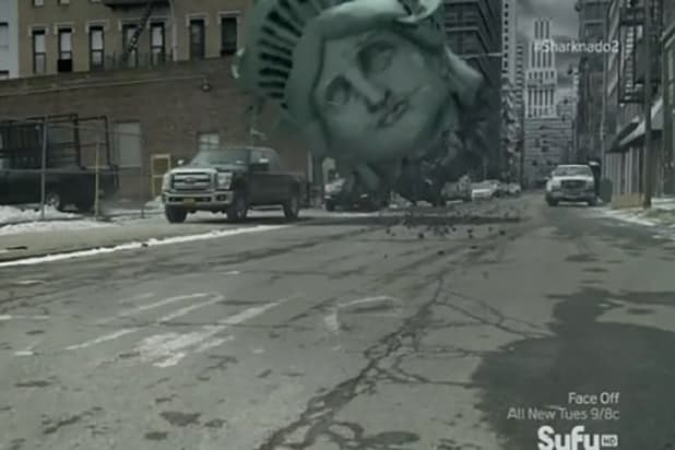 Sharknado 2 statue of liberty