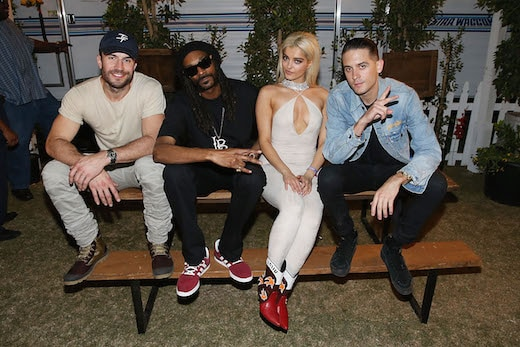 INDIO, CA - APRIL 29: (L-R) Sam Hunt, Snoop Dogg, Bebe Rexha and G-Eazy pose for a photo backstage at Stagecoach 2016 after their Bud Light Music Stage Moment at The Empire Polo Club on April 29, 2016 in Indio, California. (Photo by Joe Scarnici/Getty Images for Anheuser-Busch)