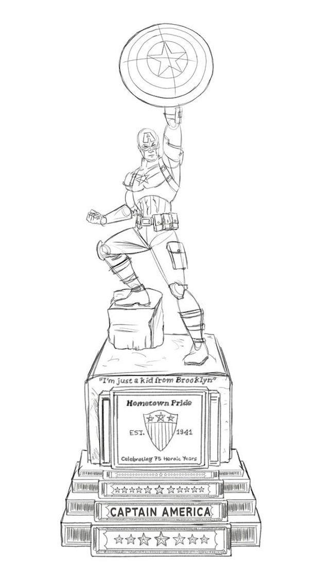 captain america statue sketch