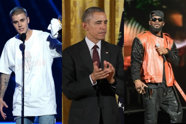 From left to right Justin Bieber R Kelly President Obama