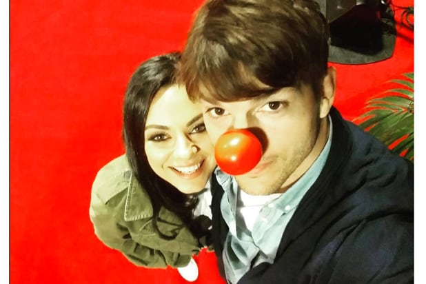red nose ashton mila kunis