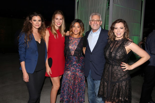 Pictured (L-R): Peyton List, Tori Anderson, Gina Rodriguez, Mark Pedowitz, President of The CW Network and Rachel Bloom at The CW's 2016 Summer TCA Party at The Pacific Design Center in Los Angeles, CA on Wednesday, August 10, 2016. Photo: Chris Frawley/The CW -- © 2016 The CW Network, LLC. All Rights Reserved.