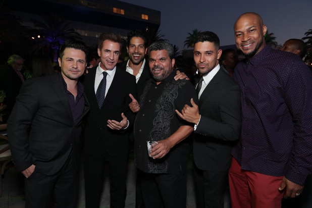 Freddy Rodriguez, Dermot Mulroney, Adam Rodriguez, Luis Guzman, Wilmer Valderama and Finesse Mitchell are shown at the 2016 Stars Party, hosted by Showtime, CBS and The CW at the Pacific Design Center in Los Angeles, CA, on August 10, 2016. - Photo: Eric Charbonneau/AP Invision for SHOWTIME