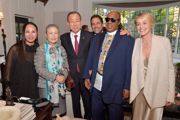 LOS ANGELES, CA - AUGUST 10: (L-R) Co-Chair, LACMA's Art + Film Gala and fashion designer Eva Chow, Yoo Soon-taek, UN Secretary-General Ban Ki-moon, host Brett Ratner, UN Messenger of Peace Stevie Wonder, and actress Sharon Stone attend the special event for UN Secretary-General Ban Ki-moon hosted by Brett Ratner and David Raymond at a Private Residence on August 10, 2016 in Los Angeles, California. (Photo by Lester Cohen/Getty Images for Arise Pictures)