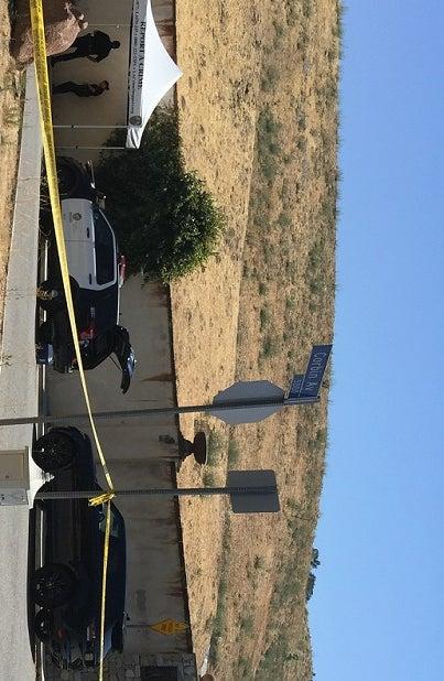 The scene outside Chris Brown's Tarzana, California, home on Tuesday