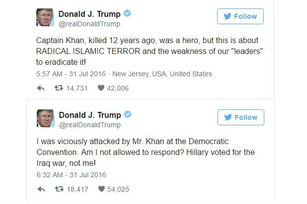 donald trump khizr khan tweets