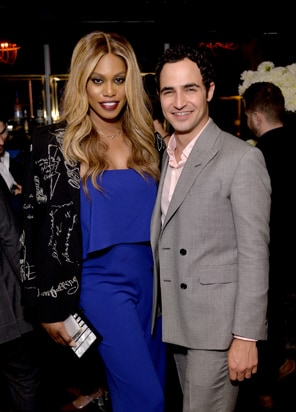Laverne Cox (L) and designer Zac Posen