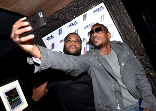 LOS ANGELES, CA - SEPTEMBER 07: Actors Anthony Anderson and Marlon Wayans attend a private event at Hyde Staples Center hosted by AQUAhydrate for the <a href=