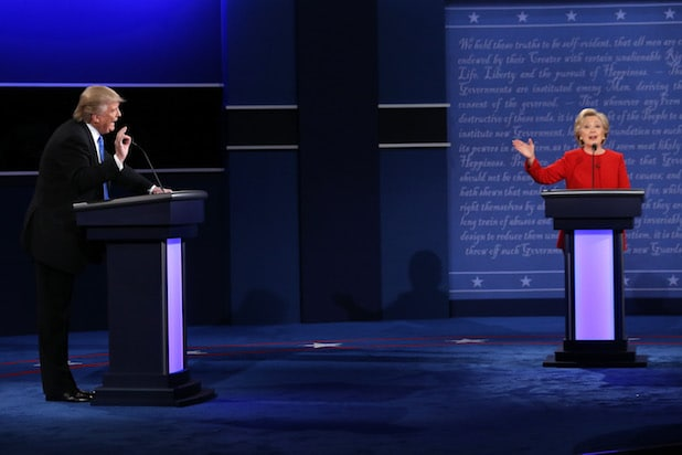 Hillary Clinton Donald Trump First Presidential Debate 2016 long shot front