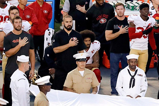 Kaepernick takes a knee during national anthem at military appreciation night