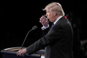 Donald Trump First Presidential Debate 2016 water