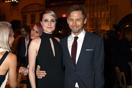 "HOLLYWOOD, CA - SEPTEMBER 28: Actors Evan Rachel Wood (L) and Jimmi Simpson attend the premiere of HBO's ""Westworld"" after party at The Hollywood Roosevelt on September 28, 2016 in Hollywood, California. (Photo by Jeff Kravitz/FilmMagic)"