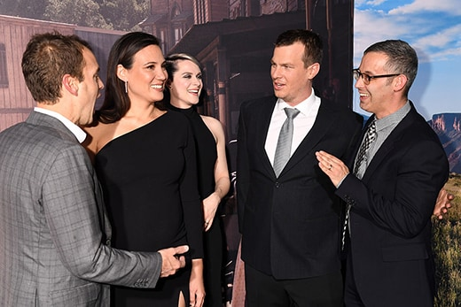 "HOLLYWOOD, CA - SEPTEMBER 28: (L-R) HBO Programming President Casey Bloys, Executive producer/writer Lisa Joy, actress Evan Rachel Wood, Executive producer/writer/director Jonathan Nolan, and Executive producer/writer/director HBO Drama co-head David Levine attend the premiere of HBO's ""Westworld"" at TCL Chinese Theatre on September 28, 2016 in Hollywood, California. (Photo by Jeff Kravitz/FilmMagic)"
