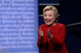 Hillary Clinton post First Presidential Debate One 2016 clapping