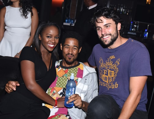 LOS ANGELES, CA - SEPTEMBER 07: Actress Aja Naomi King and actors Alfred Enoch and Jack Falahee attend a private event at Hyde Staples Center hosted by AQUAhydrate for the Drake and Future concert on September 7, 2016 in Los Angeles, California. (Photo by Vivien Killilea/Getty Images for AQUAhydrate)