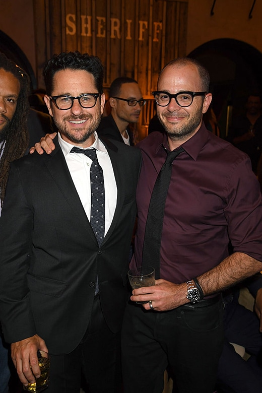 "HOLLYWOOD, CA - SEPTEMBER 28: Executive producer J.J. Abrams (L) and writer Damon Lindelof attend the premiere of HBO's ""Westworld"" after party at The Hollywood Roosevelt on September 28, 2016 in Hollywood, California. (Photo by Jeff Kravitz/FilmMagic)"