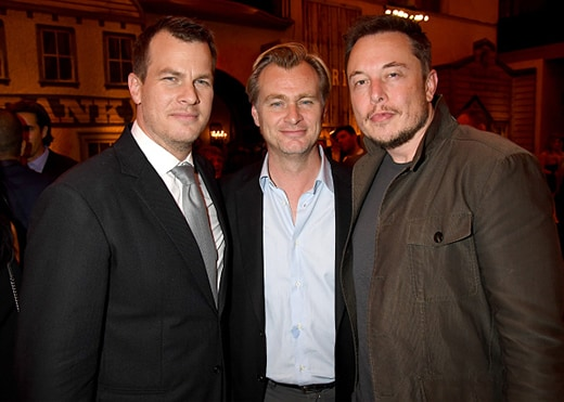 "HOLLYWOOD, CA - SEPTEMBER 28: Executive producer/writer/director Jonathan Nolan, director Christopher Nolan and Elon Musk attend the premiere of HBO's ""Westworld"" after party at The Hollywood Roosevelt on September 28, 2016 in Hollywood, California. (Photo by Jeff Kravitz/FilmMagic)"