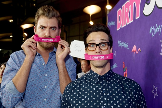 "Rhett James McLaughlin and Charles Lincoln ""Link"" Neal III of Rhett & Link seen at Lionsgate Premiere of ""Dirty 30"" at ArcLight Cinemas on Tuesday, Sept. 20, 2016, in Los Angeles. (Photo by Steve Cohn/Invision for Lionsgate Home Ent./AP Images)"